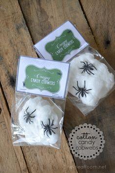 Creepy Cotton Candy Cobwebs--Halloween Treat. Free Printable!   theidearoom.net #halloween