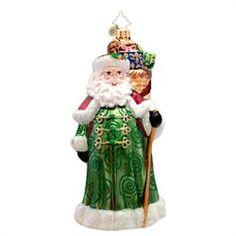 Christopher Radko Glass Emerald Tidings Irish Santa Claus Christmas Ornament #1017091 $63