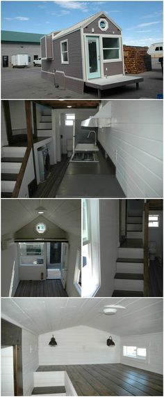 """The tiny house comes with a 5-foot slide out closet and a 32 sq.ft. fold down porch. The interior features a 12′ long bedroom loft with dormers, accessed by storage stairs. The kitchen includes a 3 burner stainless steel propane range and a beautiful 30″ apron sink by Reliance Whirlpools. The kitchen countertop and backsplash are deep sable Corian. The bathroom has a roomy 48"""" x 24"""" fiberglass shower and round Kraus vessel sink"""