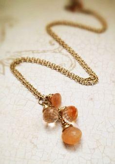 Moonstone Dangle 14k Gold Filled Necklace