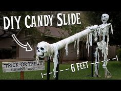 Halloween Candy Slide: In the time of COVID-19, everyone is worried how much Halloween will be affected. A lot of towns and even some states are recommending people don't go trick or treating, or at best, stay socially distanced from other people when they do. To help o… Halloween Prop, Halloween This Year, Halloween Season, Halloween Candy, Spirit Halloween, Halloween 2020, Holidays Halloween, Halloween Crafts, Halloween Decorations