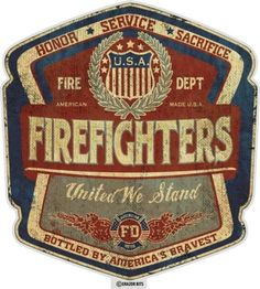 United States Firefighters United, Patriotic Art on metal sign, vintage style garage art wall decor by HomeDecorGarageArt on Etsy Firefighter Paramedic, Firefighter Decor, Volunteer Firefighter, Firefighter Pictures, Firefighter Quotes, Wildland Firefighter, Female Firefighter, Fire Dept, Fire Department