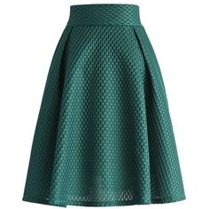Chicwish Honeycomb Mesh A-line Skirt in Teal ($47) ❤ liked on Polyvore featuring skirts, green, elastic waist skirt, green skirt, mesh skirt, knee length a line skirt and green a line skirt
