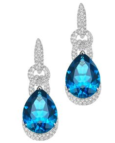 ENZO by Lorenzo pave link blue topaz drop earrings