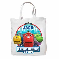 Personalized Chuggington Traintastic Crew Tote Bag, Adult Unisex, White