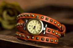 Antique Roman Numerals Leather Rivet Strap Watch for Women - Gift Ideas Guess You Like It Leather Rivets, Cowhide Leather, Orange Leather, Sunglasses Sale, Fashion Accessories, Watches, Bracelets, Roman Numerals, Antique