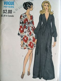 1970s Evening gown cocktail dress, patterns with plunging v neckline, high wasted and absolutely lovely.