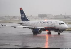 US Airways Airbus A319-132 Us Airways, Airline Logo, Commercial Aircraft, Airports, Military Aircraft, Airplanes, Aviation, Bb, Rain