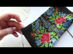 Сумочка из бисера . Часть 3 . - YouTube Beaded Crafts, Jewelry Crafts, Beaded Bags, Beaded Jewelry, Beaded Embroidery, Hand Embroidery, Crochet Shoulder Bags, Bead Crochet Rope, Weaving Patterns