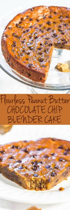 Flourless Peanut Butter Chocolate Chip Blender Cake - NO white sugar, NO oil, NO butter, NO flour! Made in a blender and the easiest cake ever!! You won't believe how amazing it tastes until you try it for yourself!! (Peanut Butter Muffin Oil)