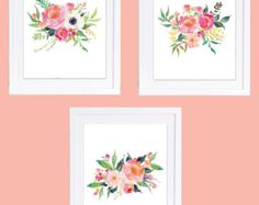 Set of 3 Floral Prints Floral Nursery Prints Boho by DuneStudio