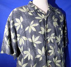 Tommy Bahama M Button Front Short Sleeve Shirt 100% Linen Floral Green Relax  #TommyBahama #ButtonFront
