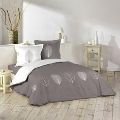 Housse de couette et deux taies réversible Garden Taupe / Blanc | Eminza Textiles, Bed Sheets, Home Accessories, Comforters, Sweet Home, Pillows, Bedroom, Decoration, King