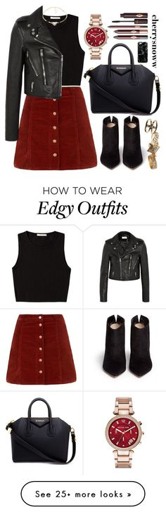 """Edgy chic with a tiny dash of grunge boho"" by cherrysnoww on Polyvore featuring Pieces, Yves Saint Laurent, Gianvito Rossi, Givenchy, Michael Kors, Casetify and Wet Seal"
