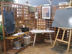 """Another outdoor art area - I like the trellis ("""",)"""