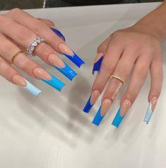 French Acrylic Nails, Blue Acrylic Nails, Simple Acrylic Nails, Square Acrylic Nails, Coffin Shape Nails, Coffin Nails Long, Long Nails, Edgy Nails, Acylic Nails