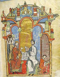 Alfonso II de Aragón (a la izquierda) ordena junto a Ramón de Caldes la documentación destinada a la compilación del cartulario real. Detalle de la portada de dicha compilación documental, conocida como Liber feudorum maior (siglo XIII).