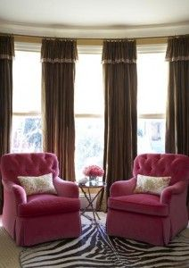 Curtains for 3 side-by-side windows...love the colors and the rug...different furniture