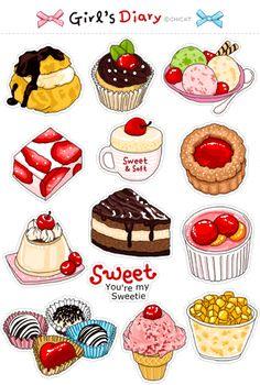Desserts Drawing, Arte Do Kawaii, Cute Food Drawings, Dessert Illustration, Cake Vector, Food Cartoon, Watercolor Food, Logo Food, Food Packaging