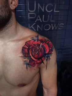 Stylised rose tatt for a guy. Love this!