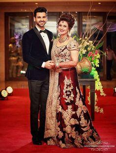 #Mr_And_Mrs_Dahiya_Reception_Maroon_lehenga_golden_embroidery_diamond_man_in_black
