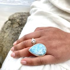 This is a superb example of Larimar, beautiful pattern of white and blues hues just... Larimar Rings, Gemstone Rings, Bezel Ring, Jewelry Showcases, Raw Gemstones, Black Spinel, Contemporary Jewellery, Beautiful Patterns, Statement Rings