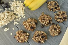 Healthy cookies - 3 mashed bananas (ripe), 1/3 cup apple sauce, 2 cups oats, 1/4 cup almond milk, 1/2 cup dark chocolate, 1 tsp vanilla, 1 tsp cinnamon. preheat oven to 350 degrees. bake for 15-20 minutes.