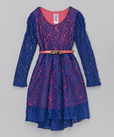 Look what I found on #zulily! Royal & Coral Belted Lace Dress - Girls by Maya Fashion #zulilyfinds
