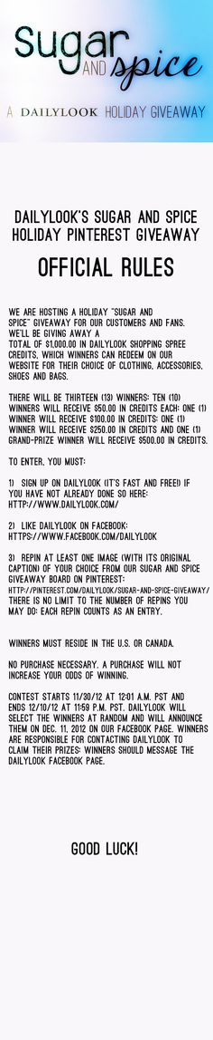 DailyLook's Sugar and Spice Holiday Giveaway Official Rules. For complete info, follow the image link. @dailylook #dailylook #dailylooksugarandspice #giveaway