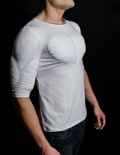 T Shirt with muscles. Fake muscles T shirt Fake Muscles, Muscle T Shirts, Muscle Guys, Confidence Boosters, Male Body, White Long Sleeve, Beautiful Men, Mens Fashion, My Style