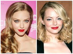 Products We Love: Red Lipstick For Blondes With Cool Skin Tones Amanda Seyfried Emma Stone