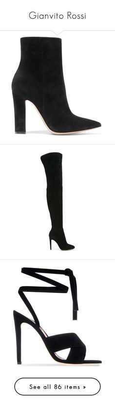 """Gianvito Rossi"" by tina-teena ❤ liked on Polyvore featuring shoes, boots, ankle booties, ankle boots, botas, heels, black suede boots, black pointed toe booties, black high heel booties and high heel bootie"
