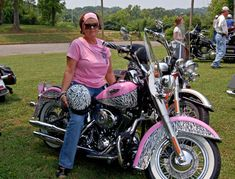 Kathy Dixon's code pink Harley with zebra stripes
