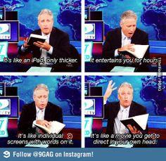 Jon Stewart discovers print books!