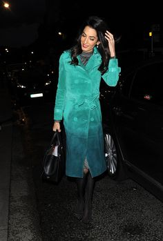 Amal Clooney Has a Rainbow of Coats — but This One Is Our Favorite: Amal Clooney stepped out in London wearing a Burberry Prorsum coat, and we don't think that's a coincidence.