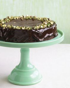 Chocolate Pistachio Torte from Martha Stewart  I would make this cake in my dream kitchen and display it on the beautiful turquoise stand.