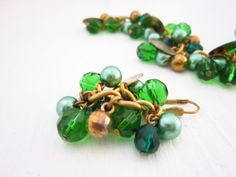Set Bracelet and Earrings in Green Gold chain by JewelryNeshElly, $18.00