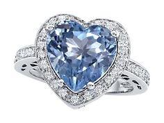 Original Star K(tm) Large 10mm Heart Shape Simulated Aquamarine Engagement Wedding Ring