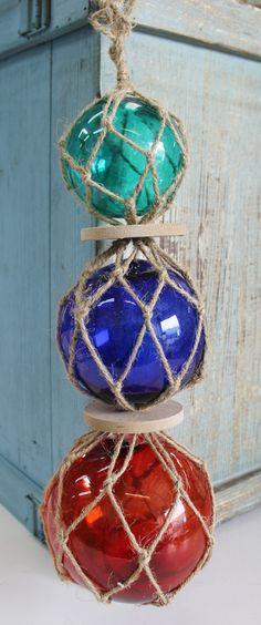 Triple Glass Floats with Rope - Nautical Themed Decor - California Seashell Company