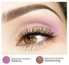 How to wear color eyeshadow to work: mix a light purple with a neutral shade.