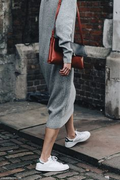 Grey sweater dress, colour block bag + white Adidas Stan Smith trainers | @styleminimalism
