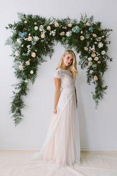 Abigail of Gardenia wedding dress with short sleeves