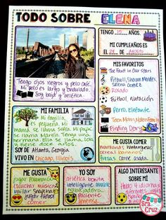 All About Me Back to School Freebie (Spanish & English)This infographic activity is a great way to get to know students and to review previously taught information. They can be used at the beginning of the year (English for level 1, Spanish for levels 2+)