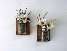Mason jar vase set of 2 mason jar sconce wall by TreetopWoodworks