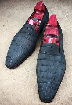 Alligator Skin Slip-on Loafers Classic Business Shoes - Mode Mens Fashion Shoes, Men S Shoes, Fashion Edgy, Dress Fashion, Fashion Rings, Ballerinas, Men Dress, Dress Shoes, Dress Clothes