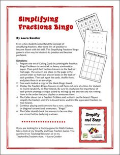 FREE Simplifying Fractions Bingo from Laura Candler