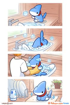 Shark-Puppy-Animation-Vress - KeyFall - Shark-Puppy-Animation-Vress Shark Puppy Is The Cutest Thing You'll See Today Comics) - Cute Animal Drawings, Kawaii Drawings, Cute Drawings, Chibi, Baby Animals, Funny Animals, Cute Animals, Animation, Pinguin Illustration