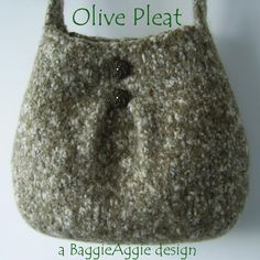 Felted Bag Pattern, Felted Purse Pattern - Pleat