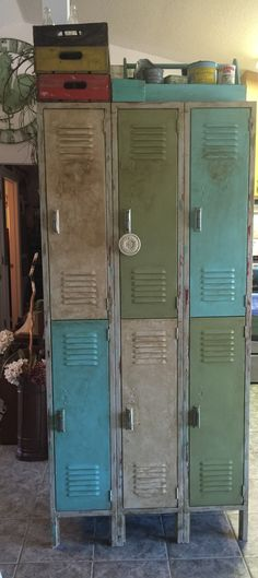 Old lockers, sanded, painted with chalk paint and stained them a golden oak to achieve vintage look! ❤️