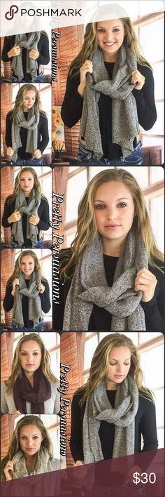 """NWT Speckled Heather Gray Cozy Knit Scarf NWT Speckled Heather Gray Cozy Knit Scarf  Size: OS  Measurements Length: 90"""" Width: 22""""  Acrylic Blend   This heathered longline knit scarf is the ultimate cold weather essential. Long enough to wrap around or lay flat, this versatile scarf will keep you warm and stylish!  * Also available in Burgundy & Beige in separate listings  Bundle discounts available  No pp or trades  Item # 1/109240300GSW Pretty Persuasions Accessories Scarves & Wraps"""